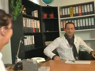 Naughty german lady in boots fucked at the office