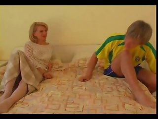 Blonde Old lady fucking young guy