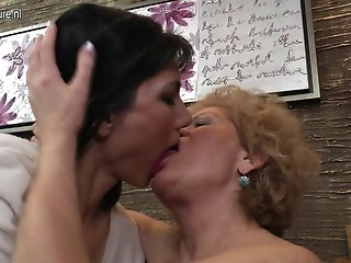 Four horny old and young lesbians wild fuck