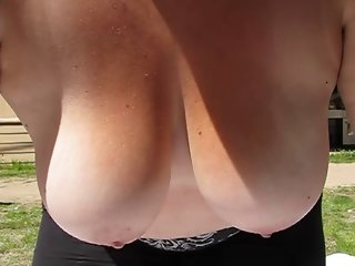 Wife swing her big tits in slow motion