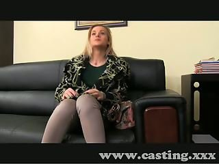 Casting Shy blonde takes big dick in interview