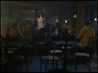 Slim brunette gangbang in bar. Gorgeous.