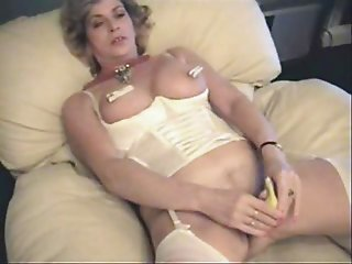 My slut wife using banana to masturbate. Home made video