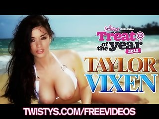 Treat of The Year Taylor Vixen plays with her big-naturals