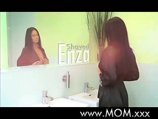 MOM Bored housewife shaves her hairy pussy