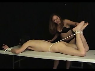 Femdom Handjob By Candi Strapped To The Jerking Table