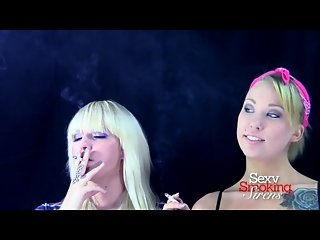 Smoking Fetish - Two Sexy Blondes Smoking Cigarettes