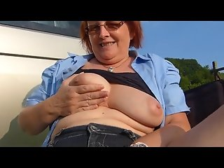 SilverStallion caught SwissMature outdoors and a Cowgirl too