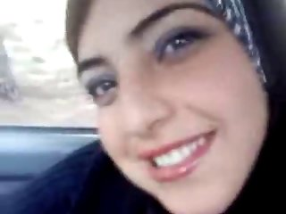 Hot arab flashing her boobs in the car