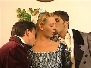 Hot house maid begs for double penetration by two guys