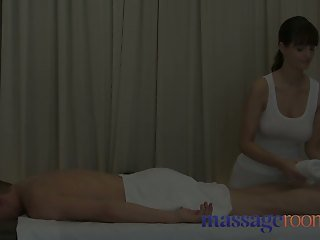 Massage Rooms Sexy busty therapist gives him good orgasm