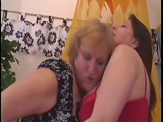 Chubby granny and chubby girl plays with pussy