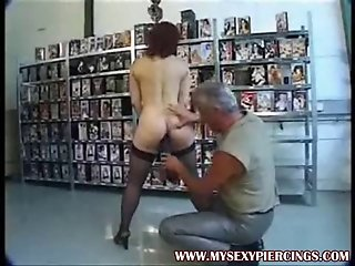 Heavy pierced slut slave with lots of metal in her pussy