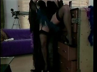 Leather & Stockings Whore gets DP'd!