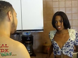 Black Slut Adriana Malao Turned Out And Fucked In Kitchen