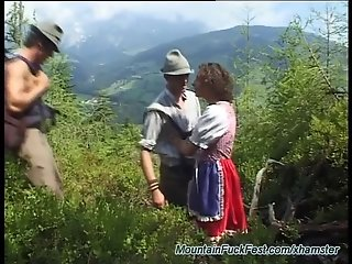 German threesome mountain fuck