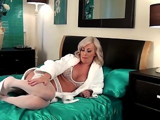 Beautiful mature solo in white stocking