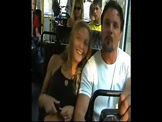 Girl flashing on bus