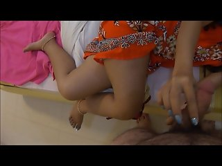 Hand job, big cum shot on Thai feet and toes with polish