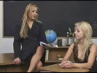 Blonde gets anal punished by lesbian teacher