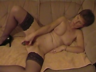 Amateur mature uk wife playing with red vib