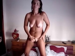 Lady having an intense standing orgasm