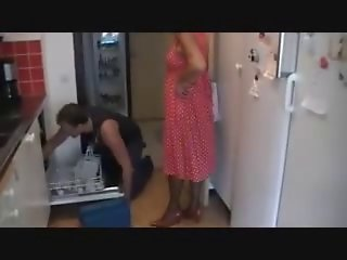 Slutty Granny Gets Laid By Plumber's Pipe