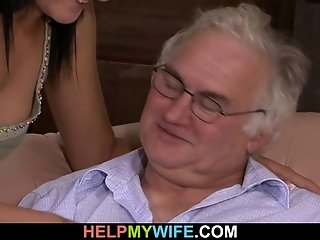 Old man watches his wife fucked