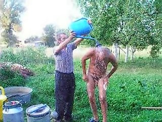 Russian Dad Showering
