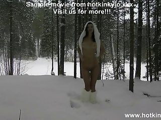 Anal self fisting and prolapse in the snow Hotkinkyjo