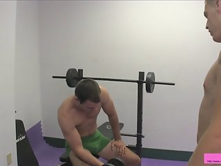 Two straight guys ballbusting in the gym