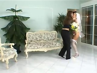 Two babes Sandy and Sandra get married and have pussy