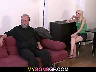 He finds his old dad fucking his GF