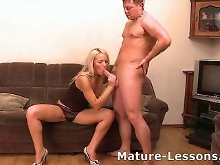 Perverted sexy mother joins younger couple for a hot threeso