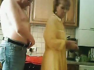 Mom and dad having fun in the kichten. Stolen video