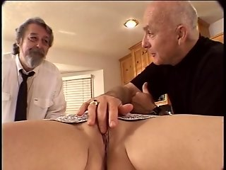 Horny husband watches his wife get her pussy fingered and licked in the kitchen