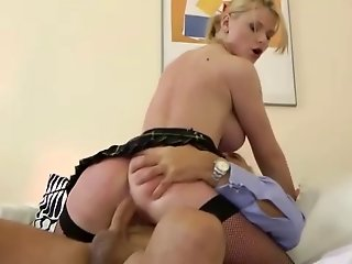 Blonde babe massages old man pussy