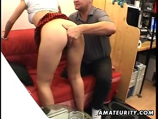 Young amateur girlfriend sucks and fucks old guy with facial
