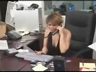 Boss fucks her secretary with a strapon