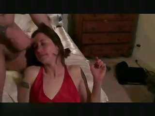 Amateur housewife has her face painted with cum