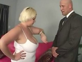 Blonde bbw eats cock and fucks with boss