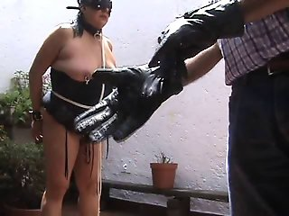 Vampire glove and flogger on tits