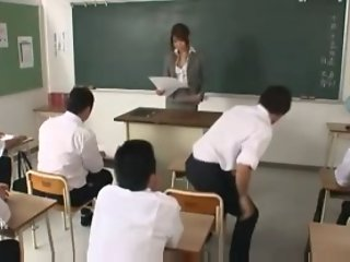Japanese teacher fucked by her students & teachers 1