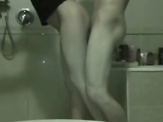 Cute brunette in the bathroom with the Russian boyfriend