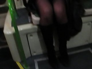 Flashing stockings and pussy in a bus