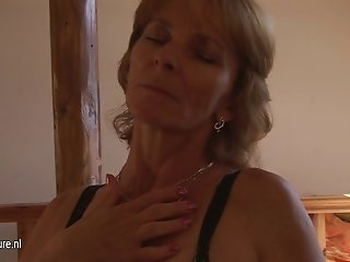 Horny mom next door playing with her pussy