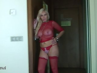 Hot blonde housewife playing with herself