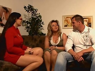 Lucky guy having fun with 2 hot german moms!