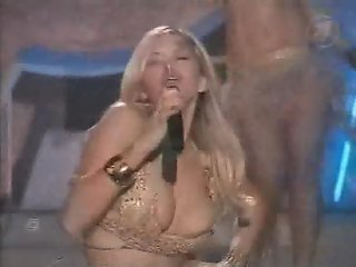 Busty pop star - nipple slip