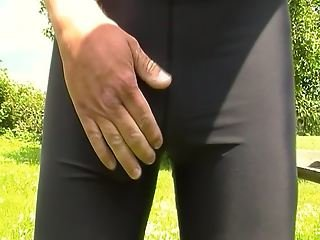 Cum in bicycle pants